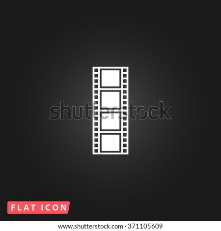 Cinematographic film. White flat simple vector icon on black background. Icon JPEG JPG. Icon Picture Image. Icon Graphic Art. Icon EPS AI. Icon Drawing Object. Icon Path UI - stock vector