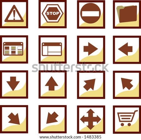 Cinnamon icons set:A useful set icons squared. All objects are separated and ready to use! - stock vector