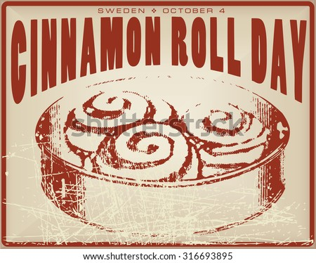 Cinnamon Roll Day vintage card for the holiday is celebrated in Sweden. - stock vector
