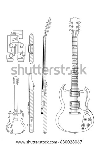 CIRCA 2016 Drawing Of Gibson SG Electric Guitar Construction Elements