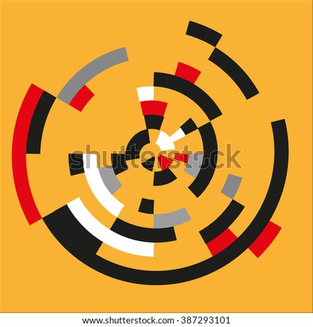 Circle abstract background. Spiral elements on yellow background. Red, black, white, gray color. Can used for textile, like designer element, in wallpaper. Vector illustration. EPS10. - stock vector