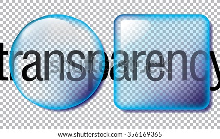 Circle and square application transparent glass buttons or app banners with rounded corners and different gloss reflection effect over, eps10 vector - stock vector