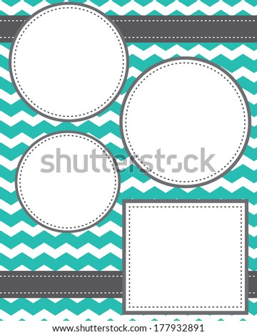 Circle and squares template with ribbons and chevron background, room for copy space - stock vector