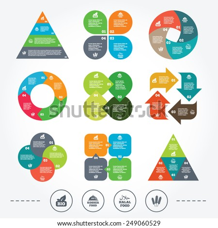Circle and triangle diagram charts. Natural Bio food icons. Halal and 100% Kosher signs. Gluten free agricultural symbol. Background with 4 options steps. Vector - stock vector