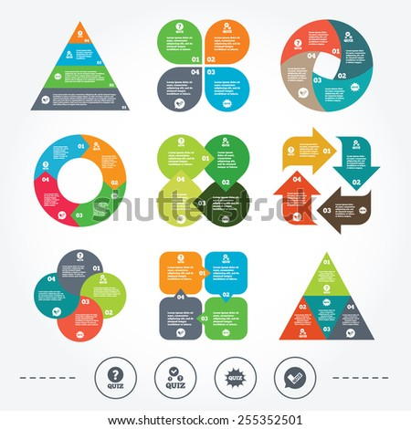 Circle and triangle diagram charts. Quiz icons. Speech bubble with check mark symbol. Explosion boom sign. Background with 4 options steps. Vector - stock vector