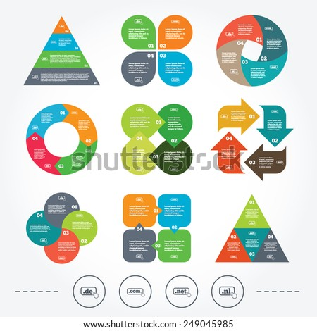 Circle and triangle diagram charts. Top-level internet domain icons. De, Com, Net and Nl symbols with hand pointer. Unique national DNS names. Background with 4 options steps. Vector - stock vector