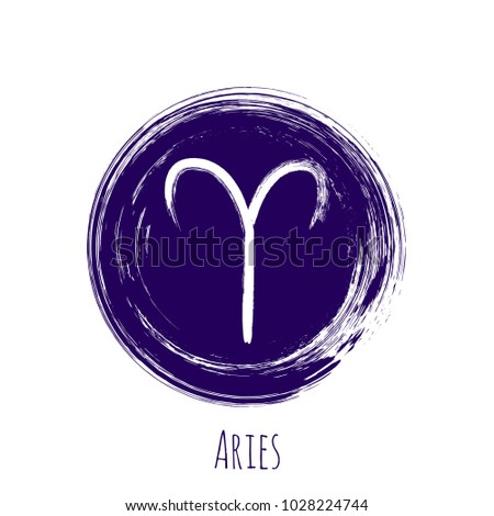 Circle Aries Zodiac Symbol Vector Hand Stock Vector 1028224744