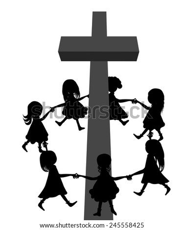 Circle around cross.A group of children circle around a cross-black and white - stock vector