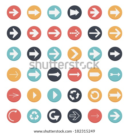 Circle Arrow Button Flat Design - stock vector