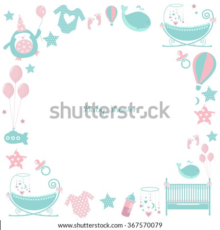 circle baby frame cute greetings card for baby shower pattern with