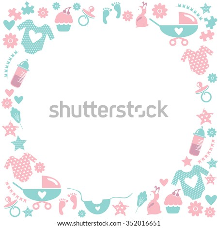 Circle Baby Frame Cute Greetings Card Baby Stock Vector 352016651 ...