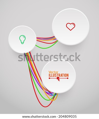 stock vector circle banner and colorful wavy wires industrial infographic concept vector illustration 204809035 abstract colorful wavy wires vector illustration stock vector  at gsmportal.co