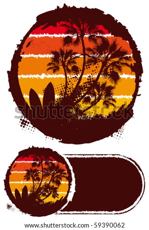 circle banner sunset surf scene - stock vector