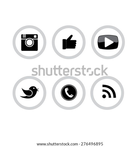 circle black and white buttons set of digital camera, hand symbol, thumbs up, messenger bird, telephone receiver, play button, rss feed - social media network vector icons collection - stock vector