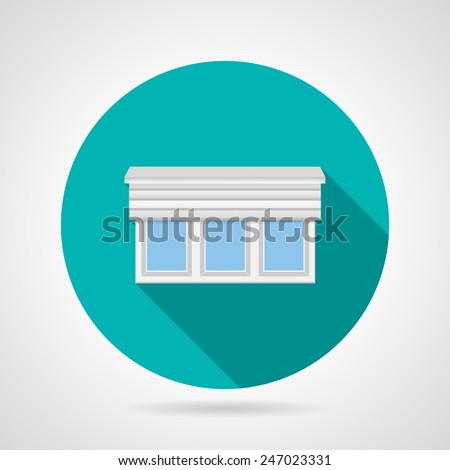 Circle blue flat vector icon for plastic tricuspid window with horizontal rolled shutters on gray background. Long shadow design. - stock vector