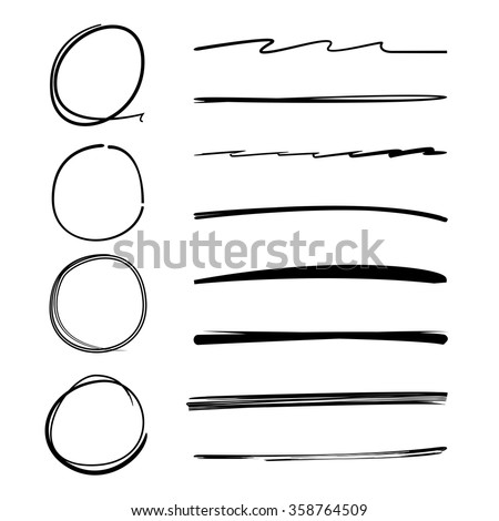 circle brush line, underline, highlighter set, highlighter vector, highlighter symbol - stock vector