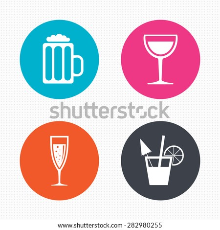 Circle buttons. Alcoholic drinks icons. Champagne sparkling wine with bubbles and beer symbols. Wine glass and cocktail signs. Seamless squares texture. Vector - stock vector