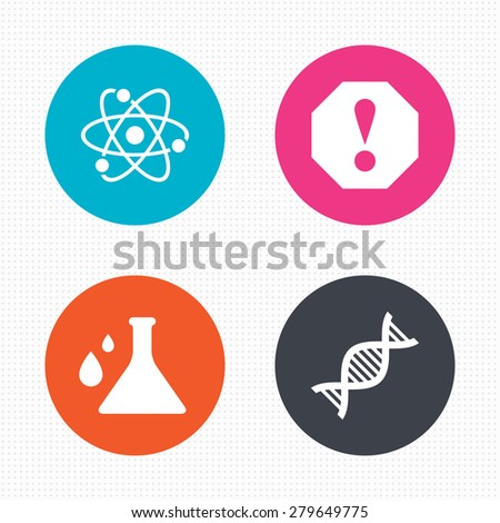 Circle buttons. Attention and DNA icons. Chemistry flask sign. Atom symbol. Seamless squares texture. Vector - stock vector