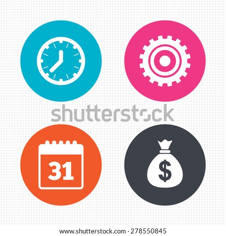 Circle buttons. Business icons. Calendar and mechanical clock signs. Dollar money bag and gear symbols. Seamless squares texture. Vector - stock vector