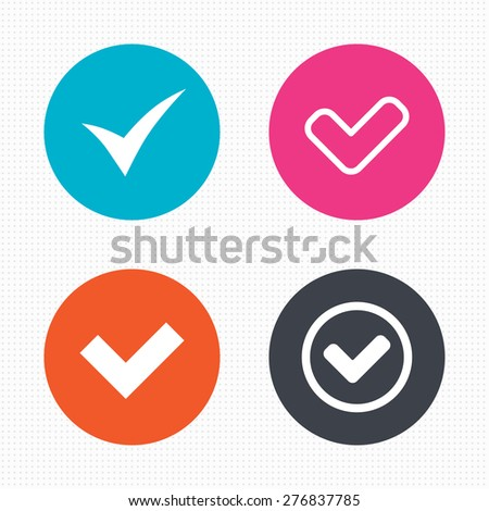 Circle buttons. Check icons. Checkbox confirm circle sign symbols. Seamless squares texture. Vector - stock vector