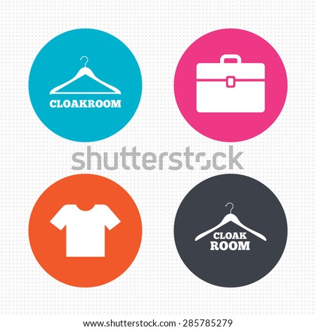 Circle buttons. Cloakroom icons. Hanger wardrobe signs. T-shirt clothes and baggage symbols. Seamless squares texture. Vector - stock vector