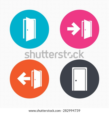 Circle buttons. Doors icons. Emergency exit with arrow symbols. Fire exit signs. Seamless squares texture. Vector - stock vector