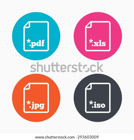 Circle buttons. Download document icons. File extensions symbols. PDF, XLS, JPG and ISO virtual drive signs. Seamless squares texture. Vector - stock vector