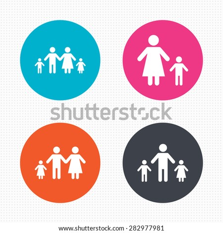 Circle Buttons Family Two Children Icon Stock Vector 2018