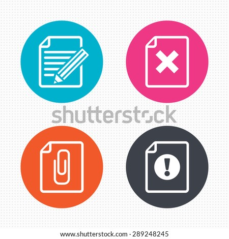 Circle buttons. File attention icons. Document delete and pencil edit symbols. Paper clip attach sign. Seamless squares texture. Vector - stock vector