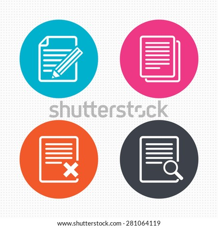Circle buttons. File document icons. Search or find symbol. Edit content with pencil sign. Remove or delete file. Seamless squares texture. Vector - stock vector