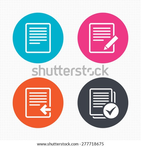 Circle buttons. File document icons. Upload file symbol. Edit content with pencil sign. Select file with checkbox. Seamless squares texture. Vector - stock vector