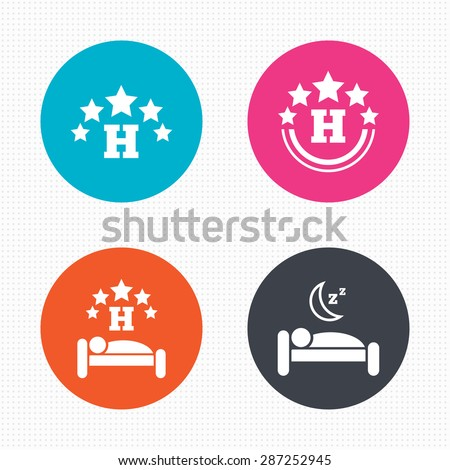 Circle buttons. Five stars hotel icons. Travel rest place symbols. Human sleep in bed sign. Seamless squares texture. Vector - stock vector