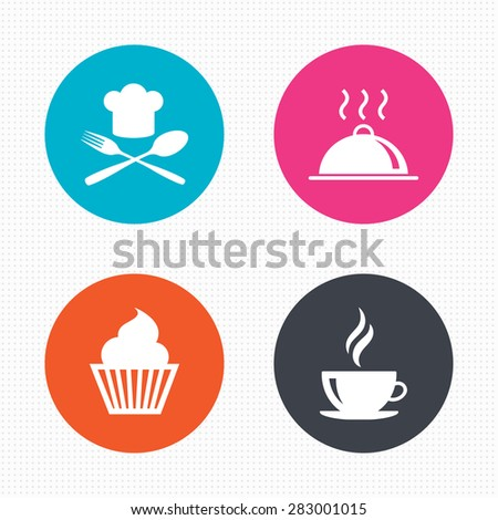 Circle buttons. Food and drink icons. Muffin cupcake symbol. Fork and spoon with Chef hat sign. Hot coffee cup. Food platter serving. Seamless squares texture. Vector - stock vector