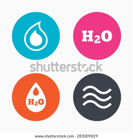 Circle buttons. H2O Water drop icons. Tear or Oil drop symbols. Seamless squares texture. Vector - stock vector