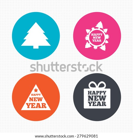 Circle buttons. Happy new year icon. Christmas trees signs. World globe symbol. Seamless squares texture. Vector - stock vector