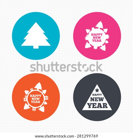 Circle buttons. Happy new year icon. Christmas trees signs. World globe symbol. Vector - stock vector