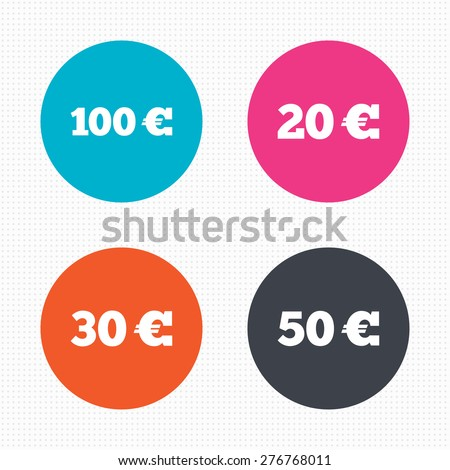 Circle buttons. Money in Euro icons. 100, 20, 30 and 50 EUR symbols. Money signs Seamless squares texture. Vector - stock vector