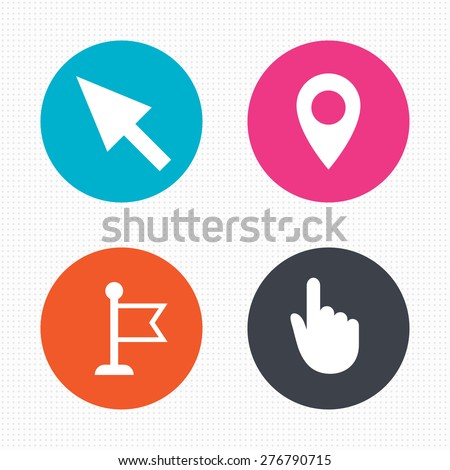 Circle buttons. Mouse cursor icon. Hand or Flag pointer symbols. Map location marker sign. Seamless squares texture. Vector - stock vector