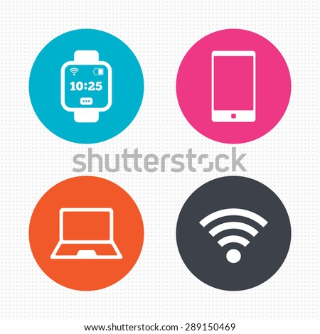 Circle buttons. Notebook and smartphone icons. Smart watch symbol. Wi-fi and battery energy signs. Wireless Network symbol. Mobile devices. Seamless squares texture. Vector - stock vector