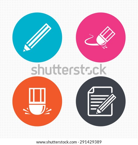 Circle buttons. Pencil icon. Edit document file. Eraser sign. Correct drawing symbol. Seamless squares texture. Vector - stock vector