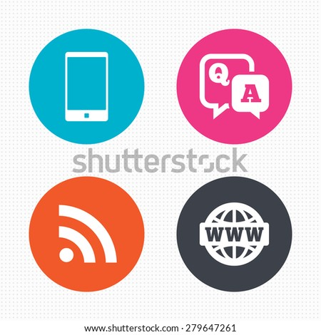 Circle buttons. Question answer icon.  Smartphone and Q&A chat speech bubble symbols. RSS feed and internet globe signs. Communication Seamless squares texture. Vector - stock vector