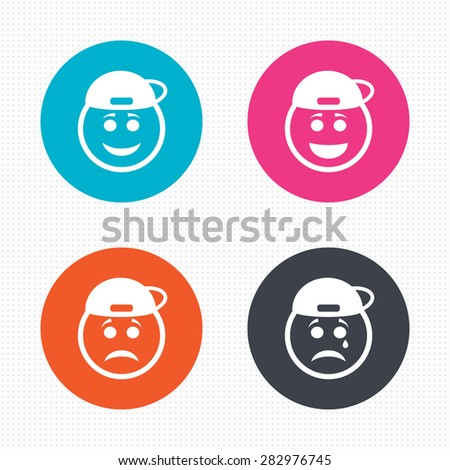 Circle buttons. Rapper smile face icons. Happy, sad, cry signs. Happy smiley chat symbol. Sadness depression and crying signs. Seamless squares texture. Vector - stock vector