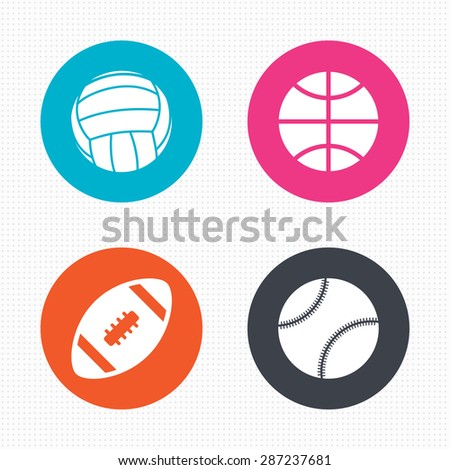 Circle buttons. Sport balls icons. Volleyball, Basketball, Baseball and American football signs. Team sport games. Seamless squares texture. Vector - stock vector