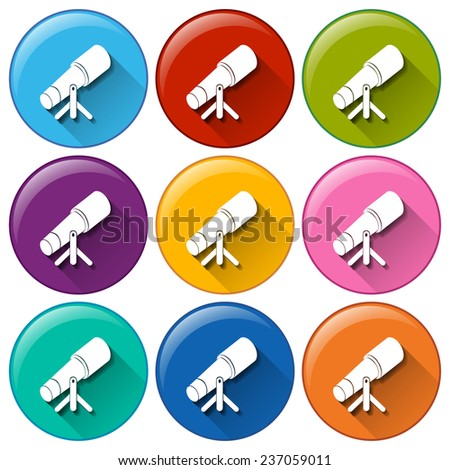 Circle buttons with telescopes on a white background  - stock vector