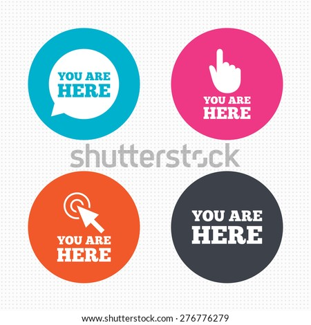 Circle buttons. You are here icons. Info speech bubble symbol. Map pointer with your location sign. Hand cursor. Seamless squares texture. Vector - stock vector