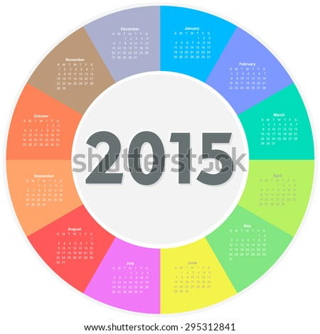 Circle calendar for 2015 year. Colorful vector  - stock vector