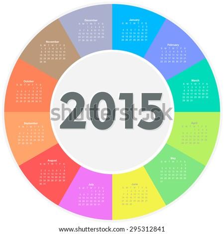 Circle calendar for 2015 year. Colorful vector  - stock vector