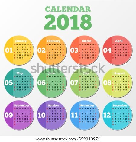 Circle calendar 2018 on grey background