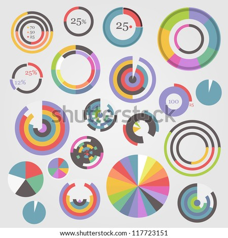 Circle chart templates collection - stock vector