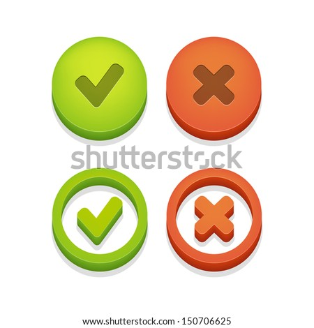 Circle check box with check marks isolated on white. Vector illustration. - stock vector